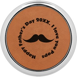 Hipster Dad Leatherette Round Coaster w/ Silver Edge - Single or Set (Personalized)
