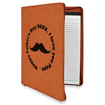 Hipster Dad Leatherette Zipper Portfolio with Notepad (Personalized)