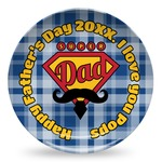 Hipster Dad Microwave Safe Plastic Plate - Composite Polymer (Personalized)