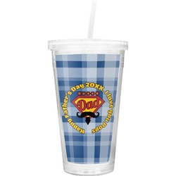 Hipster Dad Double Wall Tumbler with Straw (Personalized)