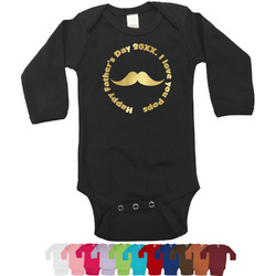 Hipster Dad Foil Bodysuit - Long Sleeves - Gold, Silver or Rose Gold (Personalized)