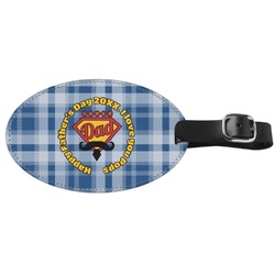 Hipster Dad Genuine Leather Oval Luggage Tag (Personalized)