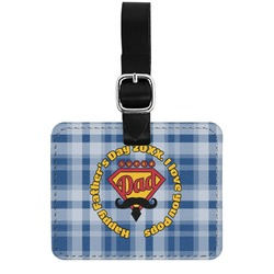 Hipster Dad Genuine Leather Luggage Tag w/ Name or Text