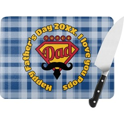Hipster Dad Rectangular Glass Cutting Board (Personalized)