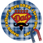 Hipster Dad Round Fridge Magnet (Personalized)