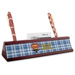 Hipster Dad Red Mahogany Nameplate with Business Card Holder (Personalized)