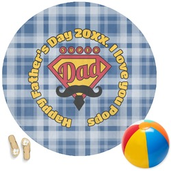 Hipster Dad Round Beach Towel (Personalized)