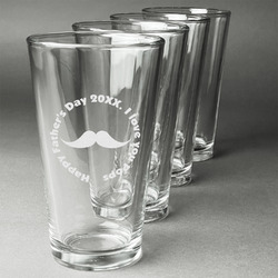 Hipster Dad Beer Glasses (Set of 4) (Personalized)