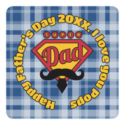 Hipster Dad Square Decal - Large (Personalized)