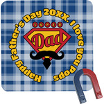 Hipster Dad Square Fridge Magnet (Personalized)