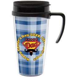 Hipster Dad Travel Mug with Handle (Personalized)