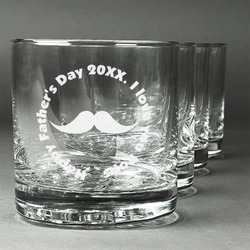 Hipster Dad Whiskey Glasses (Set of 4) (Personalized)