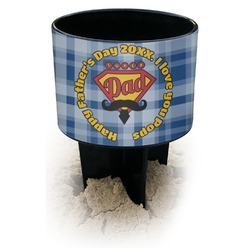Hipster Dad Black Beach Spiker Drink Holder (Personalized)