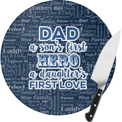 My Father My Hero Round Glass Cutting Board - Small (Personalized)