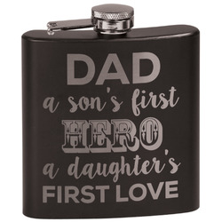 My Father My Hero Black Flask (Personalized)