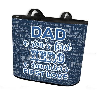 My Father My Hero Bucket Tote w/ Genuine Leather Trim (Personalized)