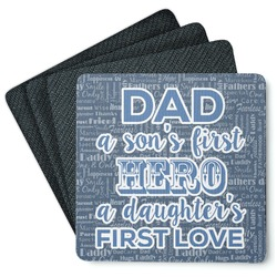 My Father My Hero Square Rubber Backed Coasters - Set of 4 (Personalized)