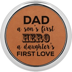 My Father My Hero Leatherette Round Coaster w/ Silver Edge - Single or Set (Personalized)