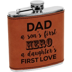 My Father My Hero Leatherette Wrapped Stainless Steel Flask (Personalized)