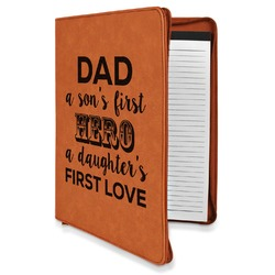 My Father My Hero Leatherette Zipper Portfolio with Notepad (Personalized)