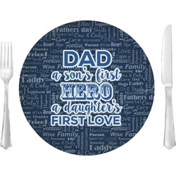 """My Father My Hero 10"""" Glass Lunch / Dinner Plates - Single or Set (Personalized)"""