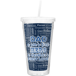My Father My Hero Double Wall Tumbler with Straw (Personalized)