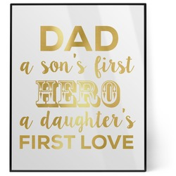 My Father My Hero 8x10 Foil Wall Art - White (Personalized)