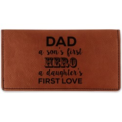 My Father My Hero Leatherette Checkbook Holder (Personalized)