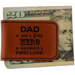 My Father My Hero Leatherette Magnetic Money Clip (Personalized)