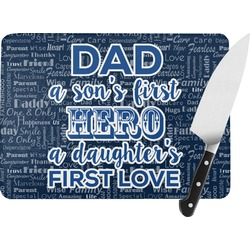 My Father My Hero Rectangular Glass Cutting Board (Personalized)