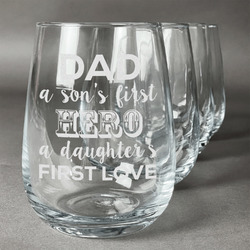 My Father My Hero Stemless Wine Glasses (Set of 4) (Personalized)
