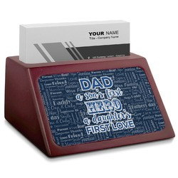 My Father My Hero Red Mahogany Business Card Holder (Personalized)