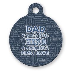 My Father My Hero Round Pet Tag (Personalized)
