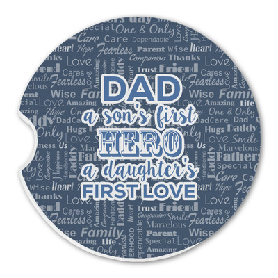My Father My Hero Sandstone Car Coasters (Personalized)