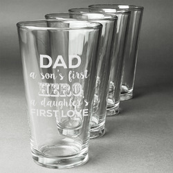 My Father My Hero Beer Glasses (Set of 4) (Personalized)