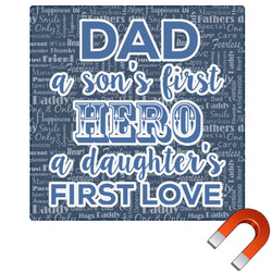 My Father My Hero Square Car Magnet (Personalized)