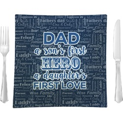 My Father My Hero Glass Square Lunch / Dinner Plate 9.5