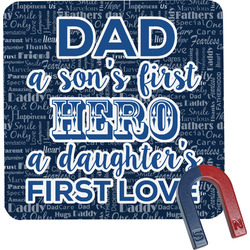 My Father My Hero Square Fridge Magnet (Personalized)