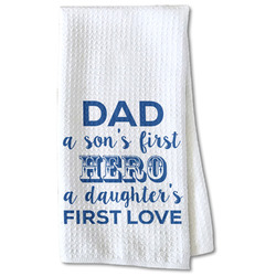 My Father My Hero Waffle Weave Kitchen Towel - Partial Print