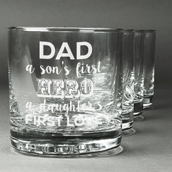 My Father My Hero Whiskey Glasses (Set of 4) (Personalized)