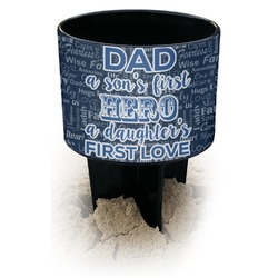 My Father My Hero Black Beach Spiker Drink Holder (Personalized)