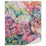 Watercolor Floral Sherpa Throw Blanket