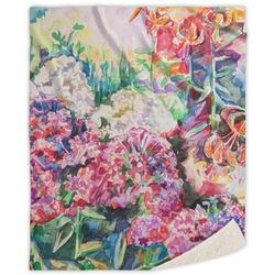 Watercolor Floral Sherpa Throw Blanket