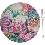 "Watercolor Floral Glass Appetizer / Dessert Plates 8"" - Single or Set"