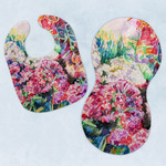 Watercolor Floral Baby Bib & Burp Set