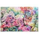 Watercolor Floral Woven Mat