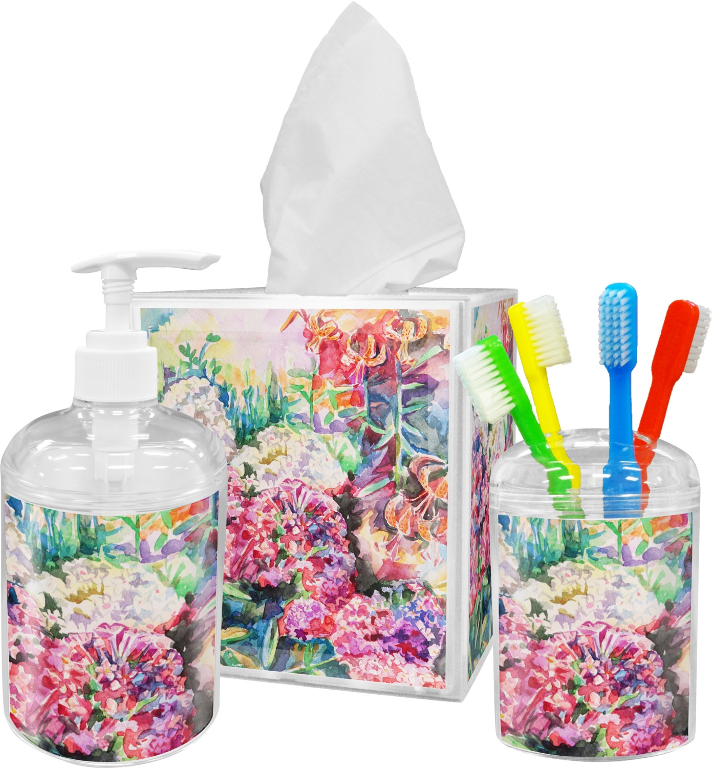 Etonnant Watercolor Floral Bathroom Accessories Set