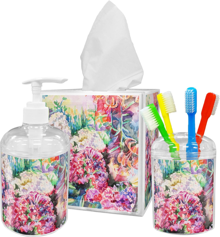 Watercolor floral bathroom accessories set personalized for Floral bathroom accessories