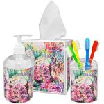 Watercolor Floral Acrylic Bathroom Accessories Set