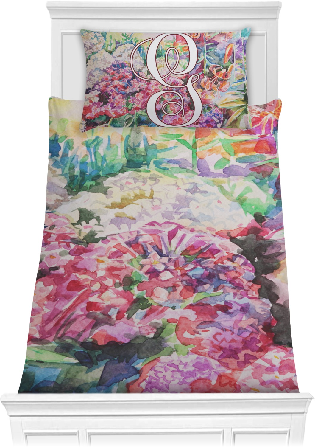Watercolor Floral Comforter Set - Twin (Personalized ...